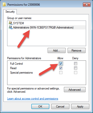 Select the user name 'Administrator.'