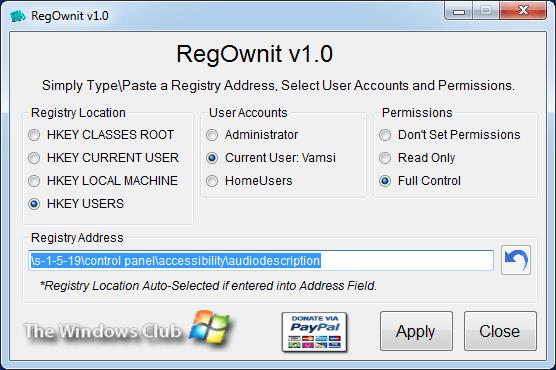 Enter the registry key location in the Registry Address field.