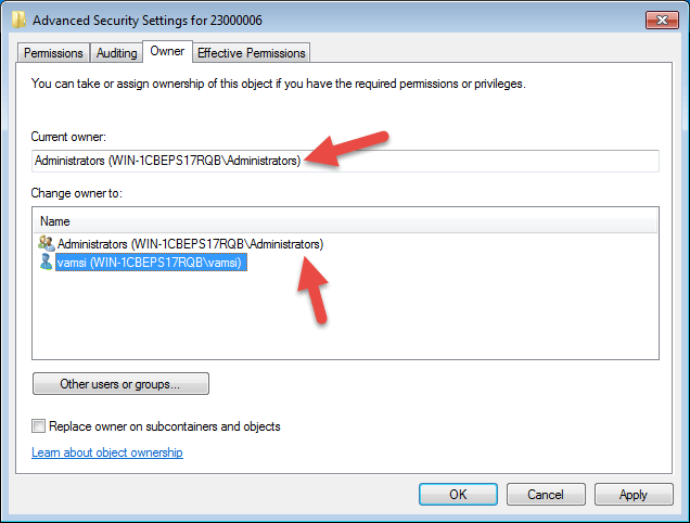 Select the username 'Administrators.'