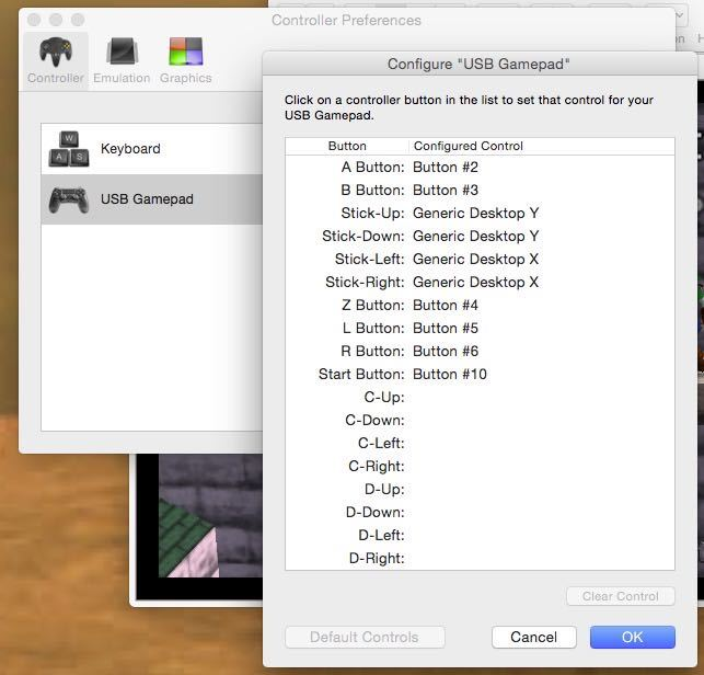 N64 configure USB gamepad.