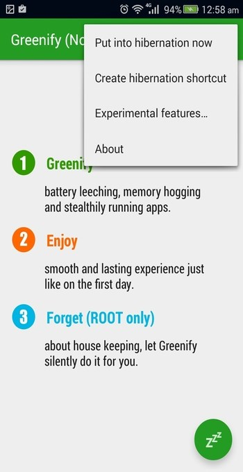 Greenify for Android menu