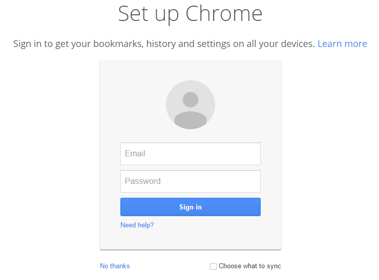 Sign in and set up Chrome.