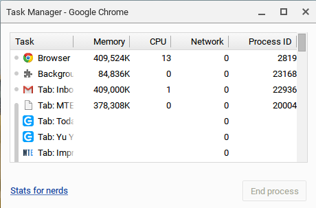 Task Manager on a Chromebook.