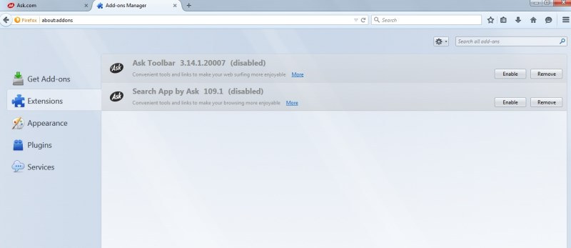 Search for Ask toolbar and remove it.