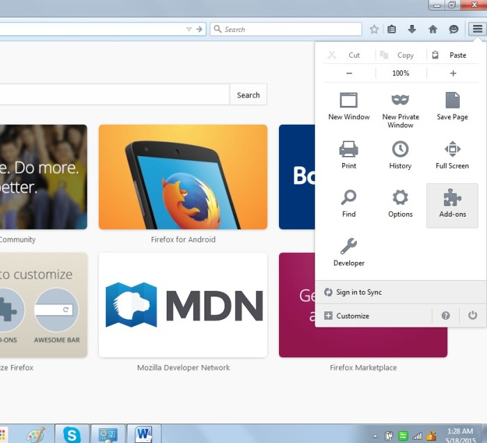 Go to Add-ons in Firefox browser.