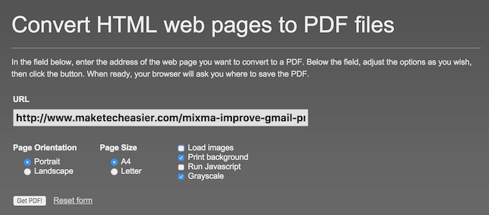 HTML to PDF website.