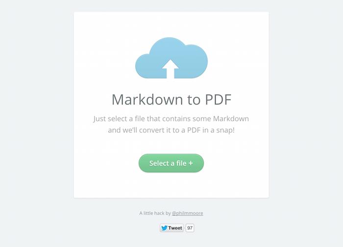Markdown to PDF website.