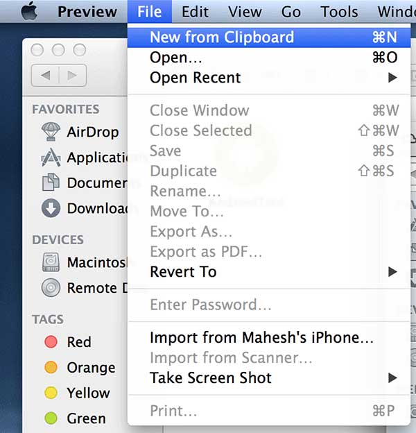 Click on 'File' followed by 'New from Clipboard.'