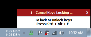 KeyFreeze gives five seconds while displaying the unlock keys.