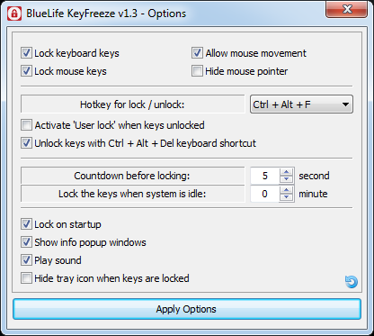 Right-click the KeyFreeze icon in the taskbar and select 'Options.'