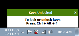 If you want to unlock the system, press 'CTRL + ALT + F.'