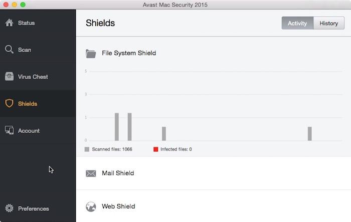 Avast Mac Security Shields.