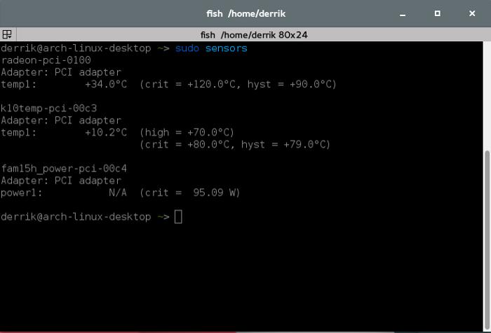 Open up a terminal window, and enter sudo sensors.