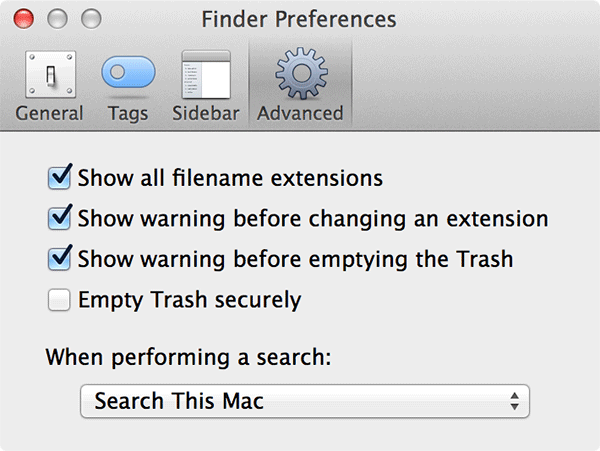 Check-mark the box that says 'Show all filename extensions.'
