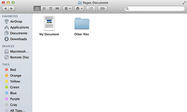 Open the folder where your Pages document is located.