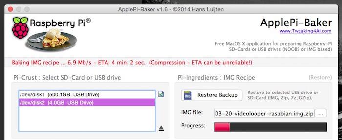 Click OK and then click Restore Backup.