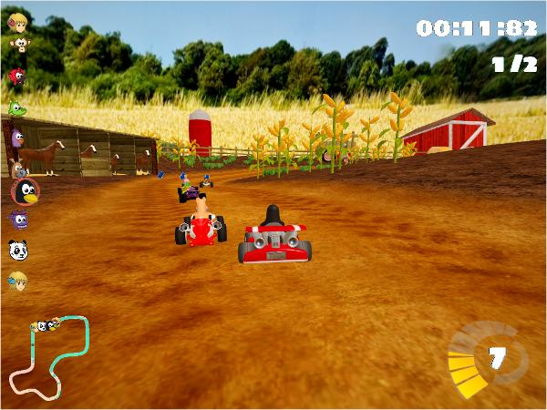 Racing in SuperTuxKart for Linux.