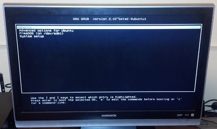 Grub menu on MediaBox 5440.