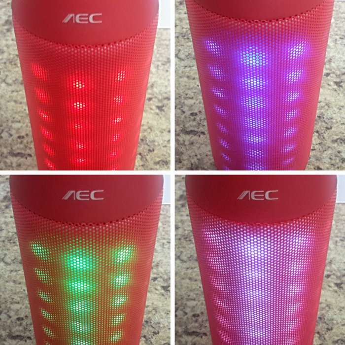 Andoer Bluetooth speaker flashing and blinking LED lights.