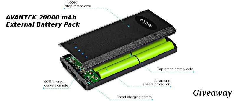Avantek 20,000 mAH External Battery Pack - Review and Giveaway