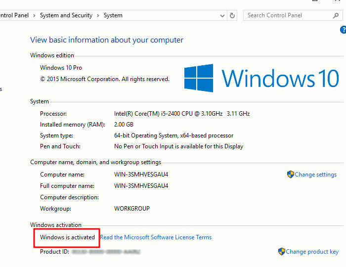 check-win10-activation-system-applet-windows-activated