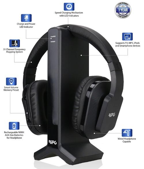RIF6 Digital Wireless Headphones: Points of interest.