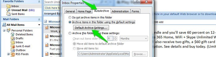 Speed-Up-Outlook-Archive-folder