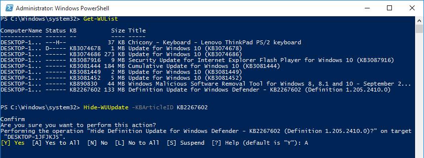 powershell-confirm-hide-update-using-kbid