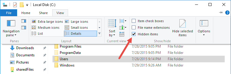 uninstall-onedrive-unhide-items