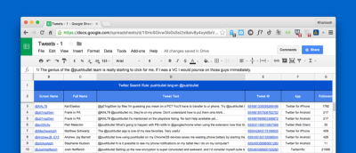 How to Automatically Collect Tweets from Any User or Hashtag in a Google Spreadsheet