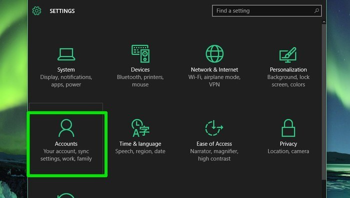 Windows 10-Accounts-option