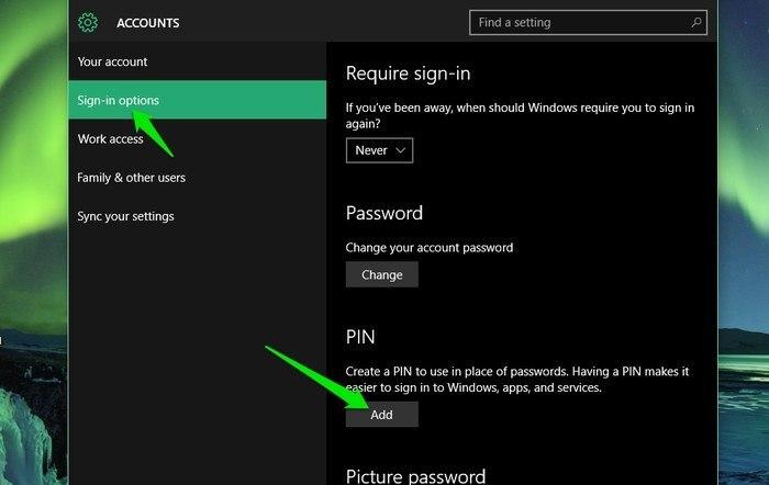 Windows 10-Add-PIN