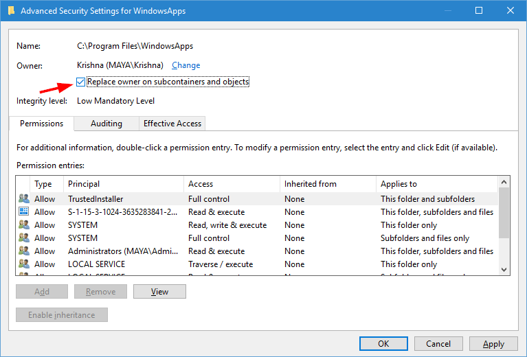 windowsapps-folder-apply-permission-changes