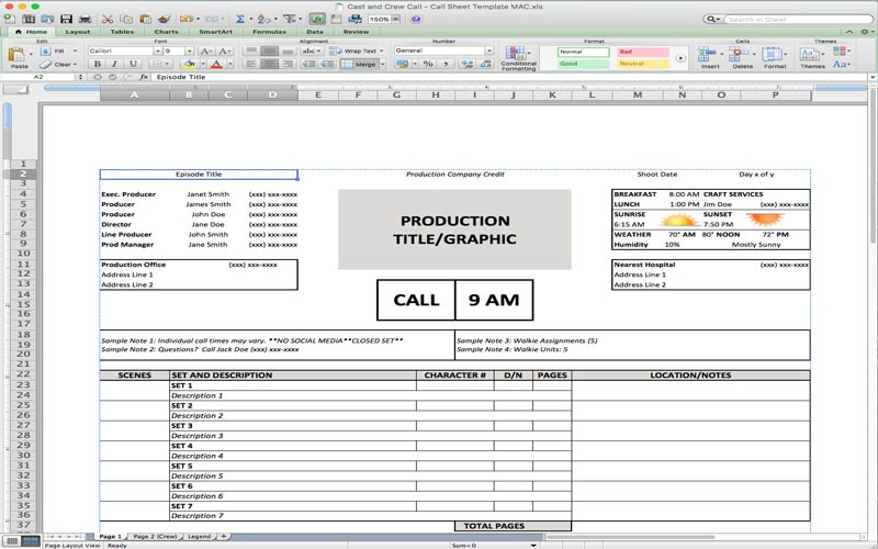 NoFilmSchool.com has a great free film production call sheet template for Excel.