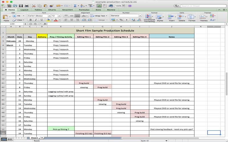Screen HI offers a free and customizable film/TV production schedule for Excel.