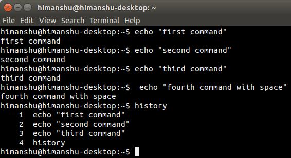 commandline-history-bash-command-space