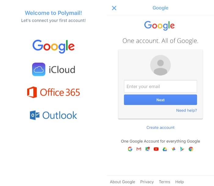 Polymail - add first account