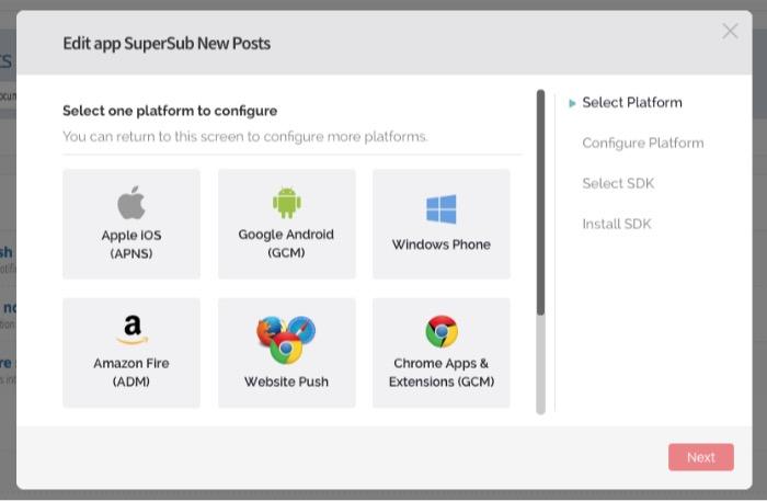 Push Notification -mte- configure platforms
