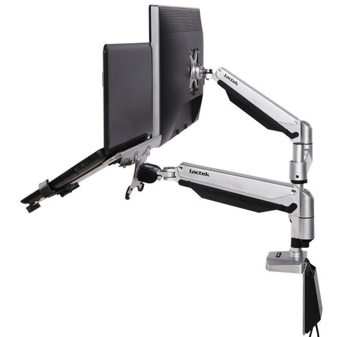 Loctek Dual Arm Desk Mount side view.