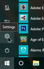 quiet hours win10 click on settings icon