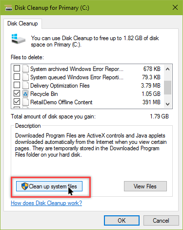 remove windows old folder click cleanup