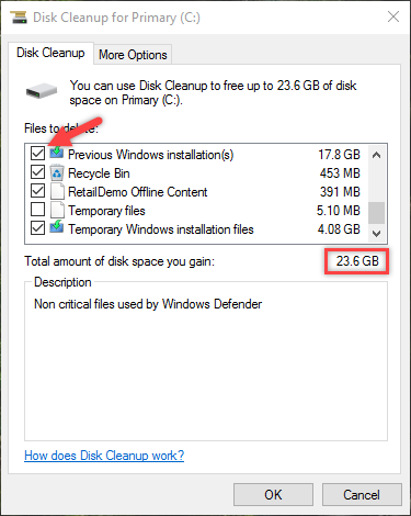 remove windows old folder total file size