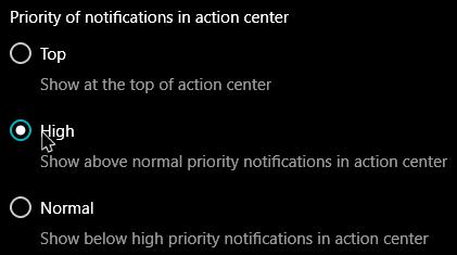win10 notification priorities set high priority