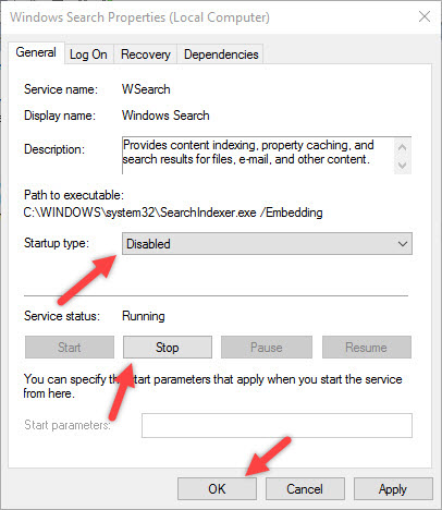 manage-indexing-win10-disable-windows-search-service