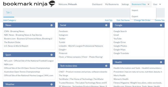 bookmark-ninja-dashboard