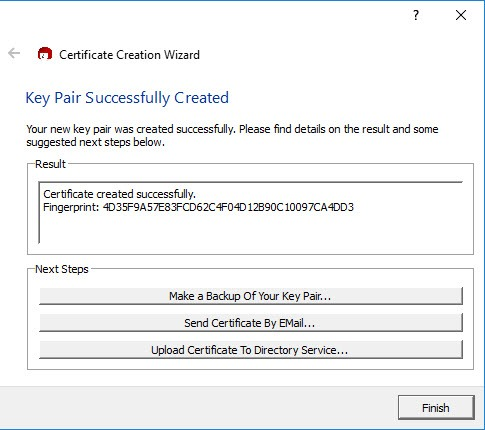 encrypt-emails-outlook-key-pair-created