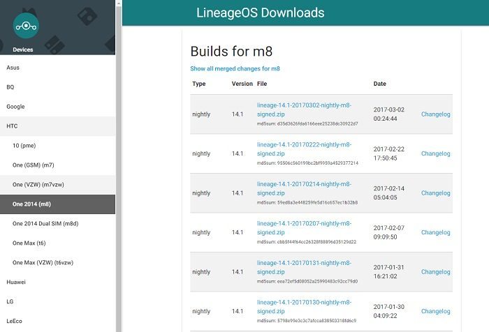 lineage-os-downloads-page