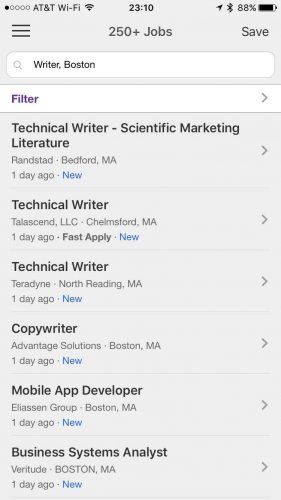 Monster's Job Search Mobile App offers a simple but effective interface for job seekers.