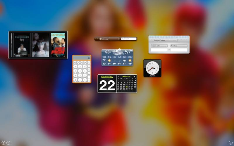 Use Mac OS X Dashboard widgets for quick and useful tasks like Dictionary, Weather, and Movies.