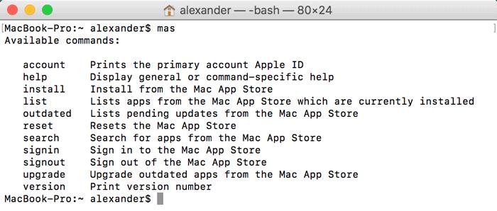 terminal-mas-commands